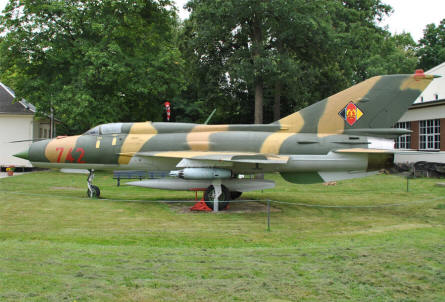 "A ""Cold War"" MIG-21 Fishbed displayed at the Flugwelt Altenburg-Nobitz. The aircraft has the markings of the East German Air Force."