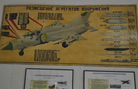 "A ""Cold War"" Russian training poster - ""Which weapon systems goes for a MIG-21 Fishbed"" is a part of the in-door exhibition at the Flugwelt Altenburg-Nobitz."