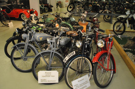 Some of the many vintage motorcycles and mopeds displayed at the Museum of Saxon Vehicles in Chemnitz.