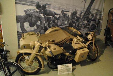A 1944 DKW NZ-350 military motorcycle with sidecar displayed at the Museum of Saxon Vehicles in Chemnitz.