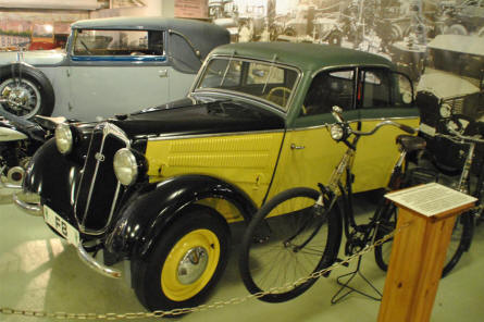 A vintage Audi displayed at the Museum of Saxon Vehicles in Chemnitz.