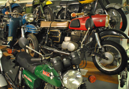 Some of the classic motorcycles - like the MZ in the front - displayed at the Museum of Saxon Vehicles in Chemnitz.