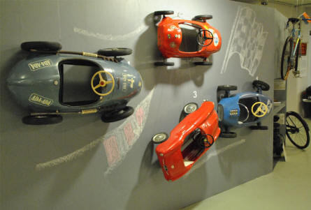 Some of the toy cars displayed on a wall at the Museum of Saxon Vehicles in Chemnitz.
