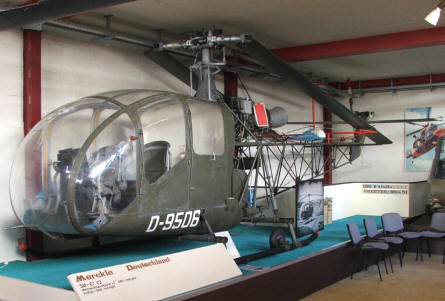 A German Merckle SM67 V2 helicopter at the Helicopter Museum at Bückeburg.