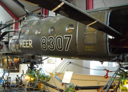 "A German Army Vertol H-21 Shawnee/Workhorse at the Helicopter Museum at Bückeburg. This type of helicopter was also called the ""Flying Banana""."