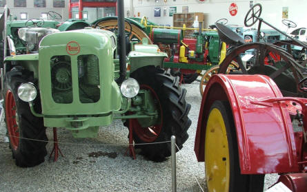 Some of the many different tractors at the German Tractor Museum in Paderborn.