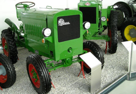 Two of the beautifully restored tractors at the German Tractor Museum in Paderborn.