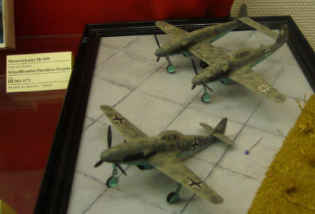 Models of some German World War II Messerschmitt aircraft prototypes displayed at the Defence Technology Museum in Koblenz.