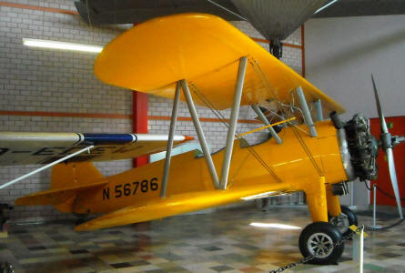An American built Boeing Stearman displayed at the L.+P. Junior Aircraft Museum in Hermeskeil.