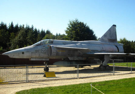 A Swedish built SAAB Viggen fighter-bomber displayed at the L.+P. Junior Aircraft Museum in Hermeskeil.