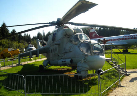 A Russian built Mi-26 Hínd attack helicopter displayed at the L.+P. Junior Aircraft Museum in Hermeskeil.