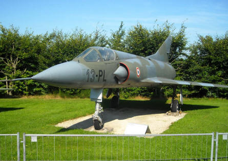 A French built Dassault Mirage V jet fighter displayed at the L.+P. Junior Aircraft Museum in Hermeskeil.