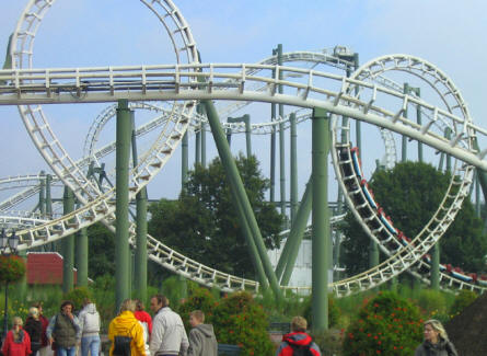 """Big loop"" at Heide-Park - a smaller roller coaster with many loops and twists."