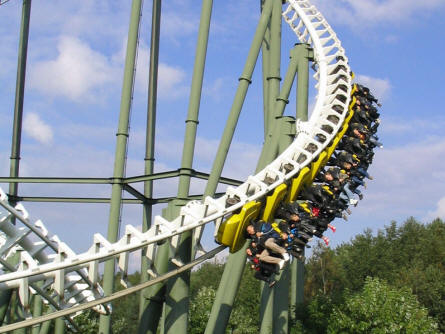 """Limit"" at Heide-Park - an inverted roller coaster with 5 loops and a lot of speed."