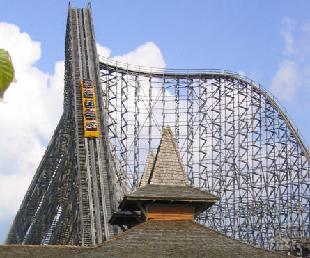 """Colossos"" at Heide-Park - the tallest wodden roller coaster in the world (60 meters - and an max. speed of 120 km)."