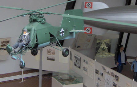 A scale model of an early German helicopter - Flettner Fl-282 Kolibri (Hummingbird) - inside the Aeronauticum aircraft museum.