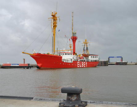 The retired lightship Elbe 1 at its dock in Cuxhaven.