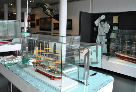 Some of the many ship models displayed at the German Maritime Museum in Bremerhaven.