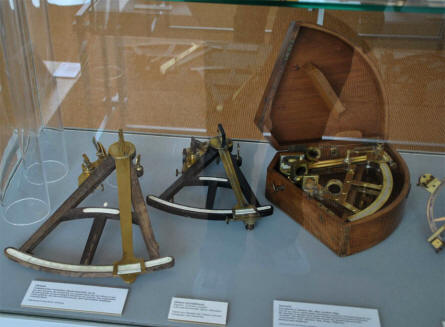 Some of the many maritime instruments and tools displayed at the German Maritime Museum in Bremerhaven.