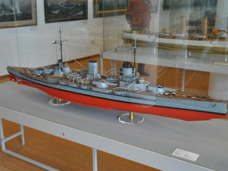 One of the many historical German navy ship models displayed at the German Maritime Museum in Bremerhaven.