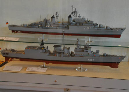 Two of the many Germany Navy ship models displayed at the German Maritime Museum in Bremerhaven.