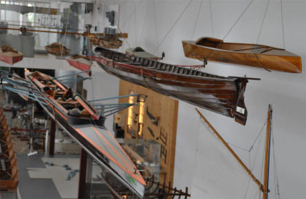 Some of the many types of rowing boats the German Maritime Museum in Bremerhaven.