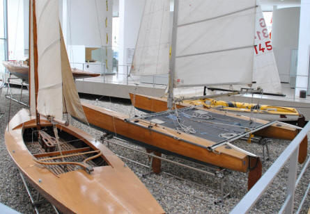 Some of the many sports sailboats displayed at the German Maritime Museum in Bremerhaven.