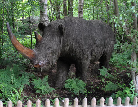 One of the full-size prehistoric animal replicas at Tolk-Schau Amusement Park.