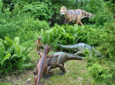 One of the huge fights between fears full-size dinosaurs replicas at Tolk-Schau Amusement Park.