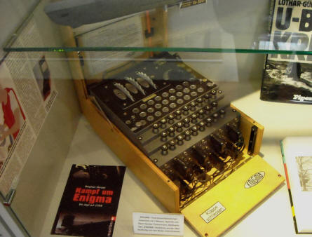A German World War II Enigma coding machine at the Hannover Aircraft Museum - Laatzen.