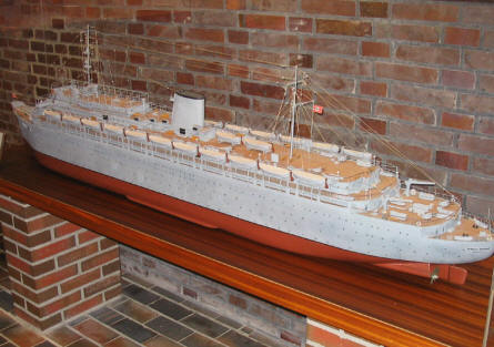 One of the many models of German ships inside the Laboe Maritime Memorial.