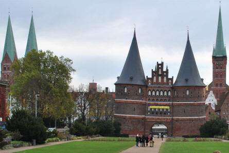 The Holstentor in Lübeck - with some of the many towers of Lübeck in the background.