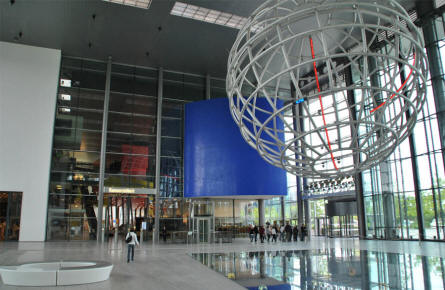 A part of the huge entrance hall of the Autostadt area in Wolfsburg.