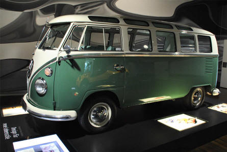 A vintage VW bus displayed at the ZeitHaus Museum (Autostadt) in Wolfsburg. This was a part of the exhibition in the summer of 2012.