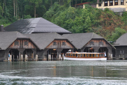 One of the tour boats leaving the boat houses - at the village of Königssee, which is the base for the tours on the Lake Königssee.