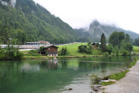 The village of Königssee is located at the northern end of the lake Königssee. This is the end of Lake Königssee.
