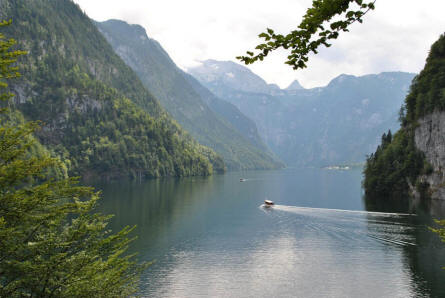 The view from one end of Lake Königssee. The lake is shaped much like a fjord - as it is totally surrounded by steeply rising flanks of mountains.