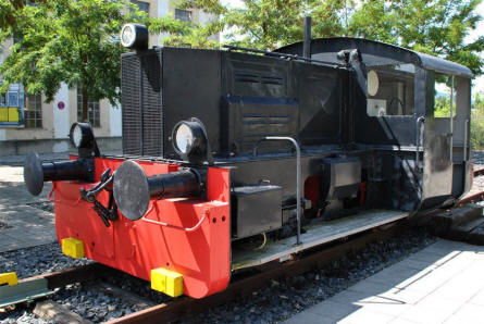 A shunting locomotive displayed outside the Lokwelt Museum in Freilassing.