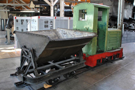 A small mining train displayed at the Lokwelt Museum in Freilassing.