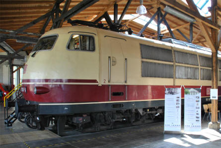 A classic diesel/electric locomotive displayed at the Lokwelt Museum in Freilassing.