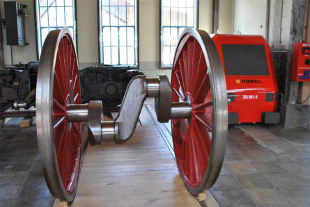 A pair of vintage steam locomotive wheels displayed at the Lokwelt Museum in Freilassing.