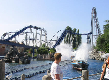 "The end of the water roller coaster ""Poseidon"" ride at Europa Park in the front. The tall structure to the right is the peak of Silver Star roller coaster."