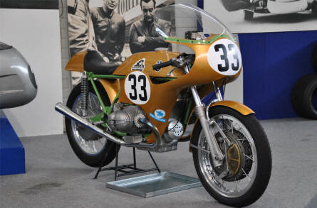One of the vintage race motorcycles displayed at the Hockenheim-Ring Motor Sports Museum.
