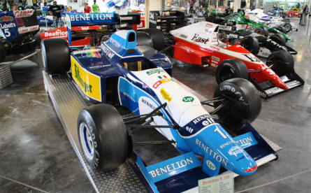Some of the classic F1 cars (Formula 1) displayed at the Sinsheim Technical Museum. The Benetton the Michael Schumacher drove is just one of many historical F1 cars.