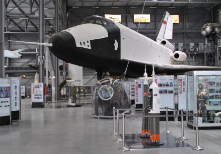 "The original Russian space shuttle ""Buran"" displayed at the Speyer Technical Museum."