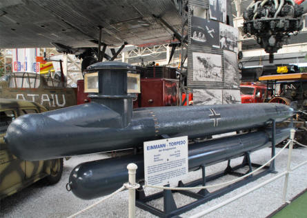 A German World War II midget submarine displayed at the Speyer Technical Museum.