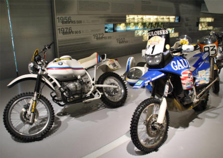 Some of the many BMW off-road and race motorcycles displayed at the BMW Museum in Munich (München).