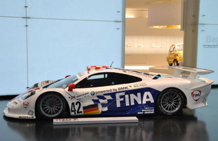 A 1997 BMW F1 GTR race car displayed at the BMW Museum in Munich (München).