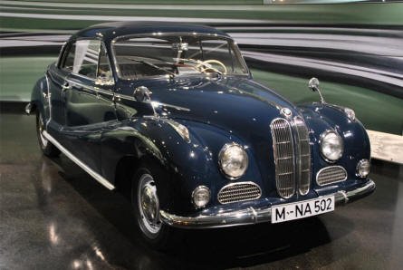 A classic 1956 BMW 502 Coupé displayed at the BMW Museum in Munich (München).