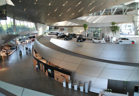 The customer area at the BMW Welt in Munich (München). Here you can pick up your new car directly from the factory.
